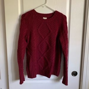 J.Crew Maroon Cable Knit Sweater